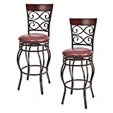 metal swivel bar stools - Costway Set of 2 Vintage Bar Stools Swivel Padded Seat Bistro Dining Kitchen Pub Chair