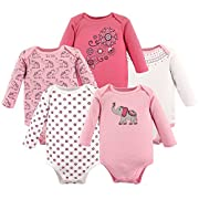 Hudson Baby Baby Infant Long Sleeve Bodysuit 5 Pack, Boho Elephant, 9-12 Months