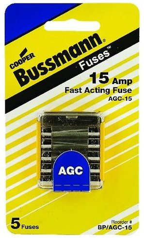 Buss BP/AGC-15; Agc Glass Type Fuses 15 Amp 5/ Made by Buss Agc 15 Amp