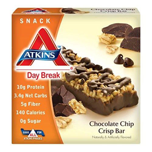 Atkins Day Break Chocolate Chip Crisp, 5 x 1.2 Oz Bars (Pack of 6), 30 Total Bars