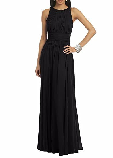 KA Beauty Womens Crew Neck Chiffon A-Line Bridesmaid Dresses Prom Gown Black UK6
