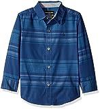 Calvin Klein Little Boys Fade Horizontal Stripe Long Sleeve Shirt, Dark Blue, x6