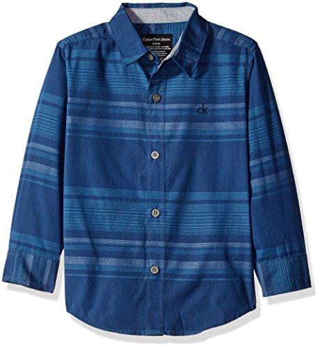 Calvin Klein Little Boys Fade Horizontal Stripe Long Sleeve Shirt, Dark Blue, x6 by Calvin Klein