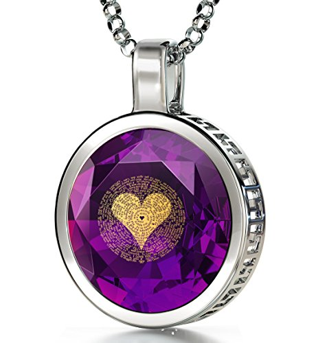 Nano Jewelry 925 Sterling Silver I Love You Necklace 120 Languages 24k Gold Inscribed Purple CZ Halo Pendant, 18