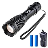 Leyic Ultra Bright CREE XML T6 LED 600 Lumen Tactical Flashlight Water Resistant Camping Torch Adjustable Focus 5 Light Modes for Indoor and Outdoor Sports