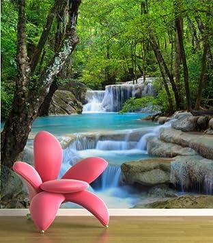 Fototapete wald wasser  Amazon.de: Fototapete Wasserfall im Wald KT485 Größe: 300x270cm ...