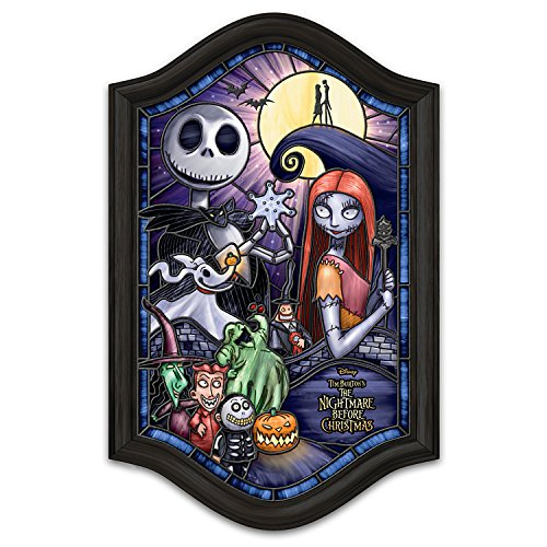 The Bradford Exchange Disney Tim Burton's The Nightmare Before Christmas Illuminated Stained-Glass Wall Decor ()