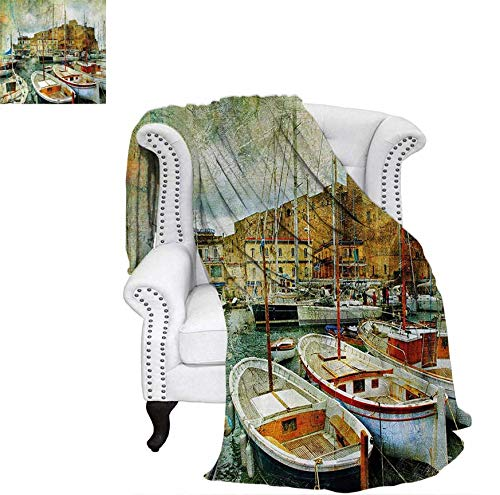 Warm Microfiber All Season Blanket for Bed or Couch Naples Small Boats at Historical Italian Coast with Heritage Castle Nautical Artwork Throw Blanket 62