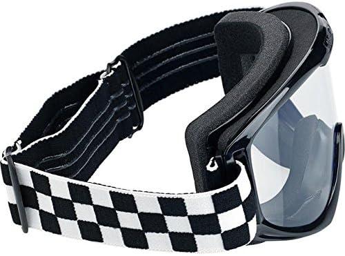 Motorrad Brille Goggle Objektiv-Biltwell Checkers transparent elastische Bandage Stil Caf/é Racer Biker