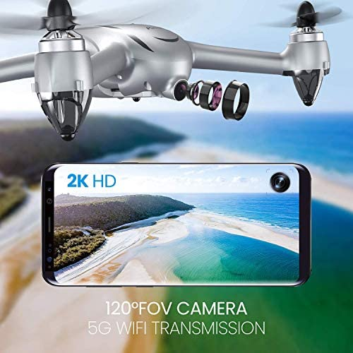 Potensic D80 GPS Drone with Camera for Adults, 2K FHD Camera, 2 Batteries 40 Mins Quadcopter with Brushless Motor, Auto Return Home, Follow Me, Long Control Range, Includes A Carrying Case-Sliver 519 dJk9mzL