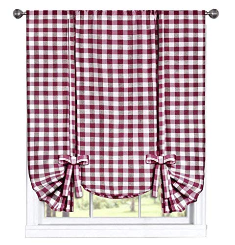 GoodGram Buffalo Check Plaid Gingham Custom Fit Farmhouse Window Curtain Tie Up Shades - Assorted Colors (Burgundy) (Kitchen And Gray Red)
