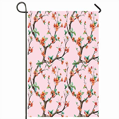 - Ahawoso Garden Flag 12x18 Inches Sketch Pink Branch Watercolor Floral Pattern Cherry Flowering Trees Flower Nature Red Oriental Apple Outdoor Decorative Seasonal Double Sided Home House Yard Sign