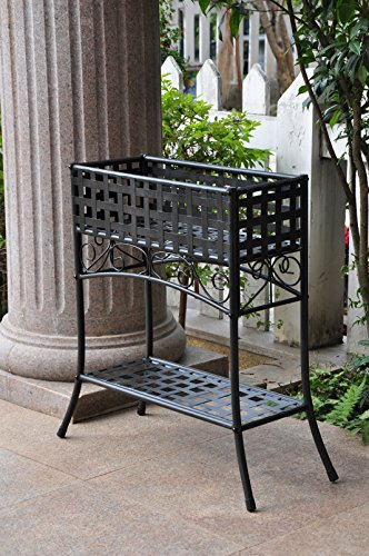 Black Wrought Iron Stand - International Caravan Iron Outdoor/Indoor Plant Stand