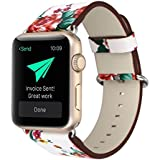 YOSWAN Bracelet For Apple Watch, National Black White Floral Printed Leather Watch Band 38mm 42mm Strap For Apple Watch Flower Design Wrist Watch Bracelet, White/Red Flower