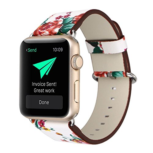 YOSWAN Bracelet for Apple Watch, National Black White Floral Printed Leather Watch Band 38mm 42mm Strap for Apple Watch Flower Design Wrist Watch Bracelet (White+ Red Flower, 38mm)
