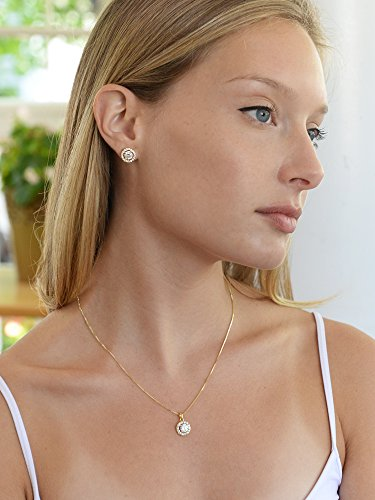 96c093d68aa7 Mariell Ultra Dainty 10.5mm Cubic Zirconia Round Halo Necklace and Stud  Earrings Set Plated in 14K Gold