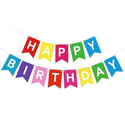 MEJOSER Guirnalda Happy Birthday Banner Decoracion Fiesta de Cumpleaños Banderines Feliz Cumpleaños Multicolor