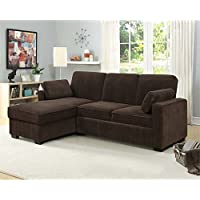 Lifestyle Solutions Coleman Convertible Sectional in Chocolate