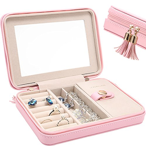 Valentines Day Gift Mothers Day Gift Small Jewelry Box Travel Jewelry Organizer Storage Case with Large Mirror for Rings Earring Necklace bracelets Gifts for Women Girls by LE PAPILLION(Pink) (Earring Storage Kids)