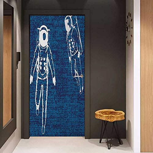 Onefzc Sticker for Door Decoration Astronaut Two Astronauts Floating in Blue Space Drawing Universe Emptiness Door Mural Free Sticker W17.1 x H78.7 White Navy Blue Dark Blue