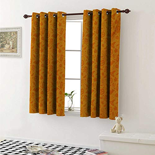 shenglv Halloween Customized Curtains Monochrome Design with Traditional Halloween Themed Various Objects Pumpkin Bat Print Curtains for Kitchen Windows W63 x L45 Inch -