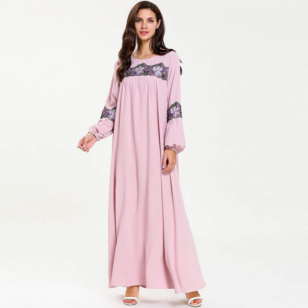 perfectCOCO Women Muslim Dress Elegant Floral Loose Arab Dresses Islam Jilbab Cocktail Robes Pink by perfectCOCO dress (Image #5)