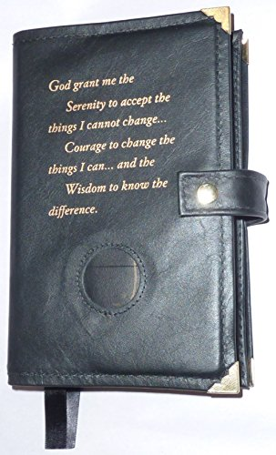 Black Leather Double AA Alcoholics Anonymous Big Book & 12 Steps and 12 Traditions Book Cover Serenity Prayer and Medallion - Anonymous Leather Alcoholics