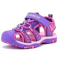 HOBIBEAR Girls Outdoor Closed-Toe Summer Sport Sandals-Purple