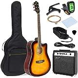 Best Choice Products 41in Full Size Acoustic Electric Cutaway Guitar Set w/ 10-Watt Amp, Capo, E-Tuner, Case - Sunburst