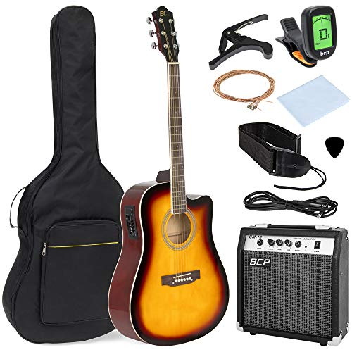 Best Choice Products 41in Full Size Acoustic Electric Cutaway Guitar Set with 10-Watt Amplifier, Capo, E-Tuner, Gig Bag, Strap, Picks (Sunburst)