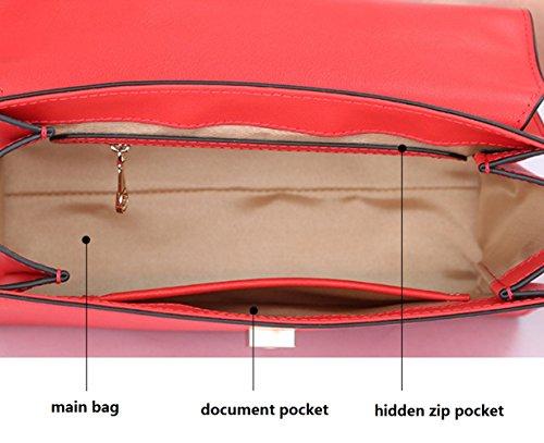 Bolso de hombro de cuero genuino de las señoras paquete de la manija superior Correa de hombro de color ancho Messenger Bag Tote Darkblue