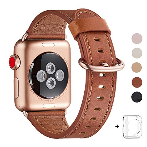 WFEAGL Compatible iWatch Band 40mm 38mm, Top Grain Leather Band with Gold Adapter (The Same as Series 4/3 with Gold Aluminum Case in Color) for iWatch Series 4/3/2/1 (Brown Band+Rosegold Adapter)
