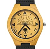 Viable-Harvest-Mens-Wood-Watch-Unique-Sundial-Design-Natural-Bamboo-Genuine-Leather-and-Gift-Box