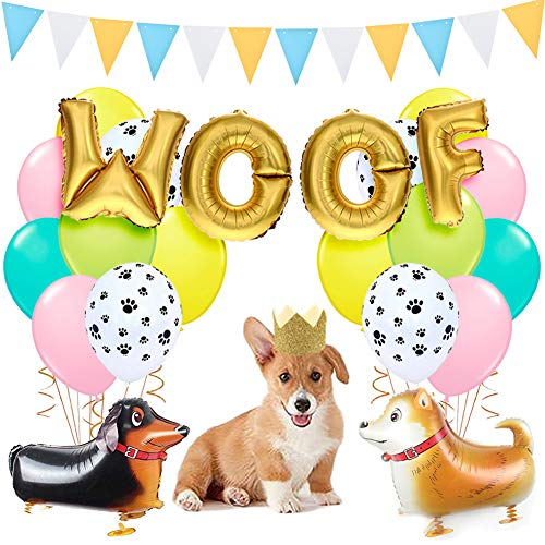 KREATWOW Dog Party Decorations Woof Dog Balloons Walking Dog Balloons Dog Party Hats for Puppy Dog Birthday Pet Theme Baby Shower Birthday Party -