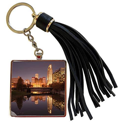 3dRose Danita Delimont - Walter Bibikow - Nebraska - USA, Nebraska, Omaha, Gene Leahy Mall, skyline at dawn - Tassel Key Chain ()