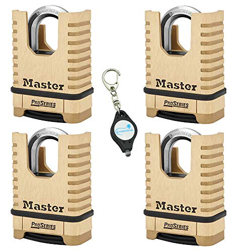 Master Lock 1177D 2-1/4in (57mm) Wide ProSeries Shrouded Brass Resettable Combination Padlock, 4 Pack Bundle w/Lumintrail Key Chain -