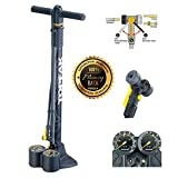Bike Pump with Gauge Pro Bike Tool - Fits Presta and Schrader - Accurate Inflation - Mini Bicycle Tire Pump for Road, Mountain and BMX Bikes - High Pressure 220 PSI, Includes Mount Kit