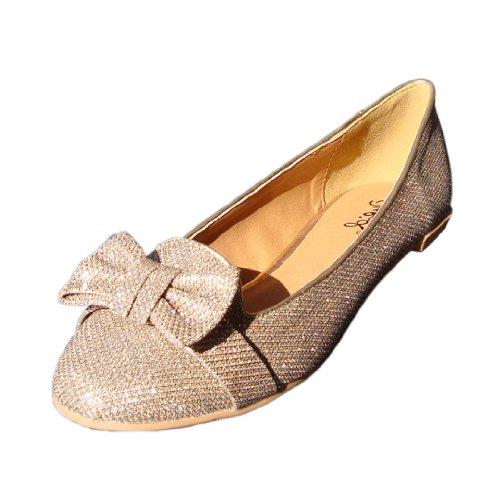 Qupid Vrouwen Salya584 Glitter Kunstleer Boog Loafer Ballet Platte Champagne