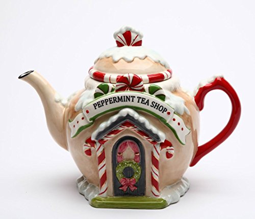 Fine Ceramic Hand Painted Christmas Peppermint Candy Cane Tea Shop Gingerbread House Teapot, 8-7/8