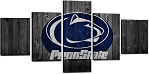 """TWO J Penn State University Wall Decor Art Paintings 5 Piece Canvas Picture Artwork Living Room Prints Poster Decoration Wooden Framed Ready to Hang [50"""" W x 24"""" H]"""