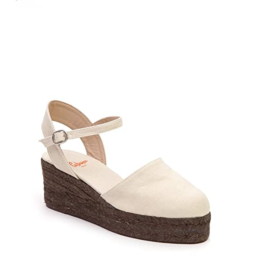 Women's Clara Wedge Esparille CLARA/3/ED/canvas Ivory SZ 38
