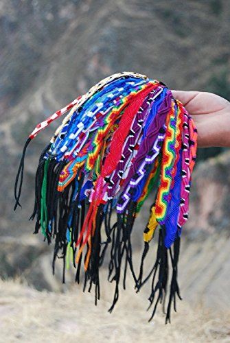 Hand Made Peru Artisan Woven Friendship Bracelets Wide 50 Lot Wholesale with Worry Doll Pin Gift (3) Pack