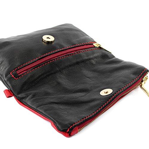 poignet petites sac de modamoda d'épaule en Schwarz Sac en de d'embrayage cuir cuir sac dames Rot T95 de ital xS7nBnX