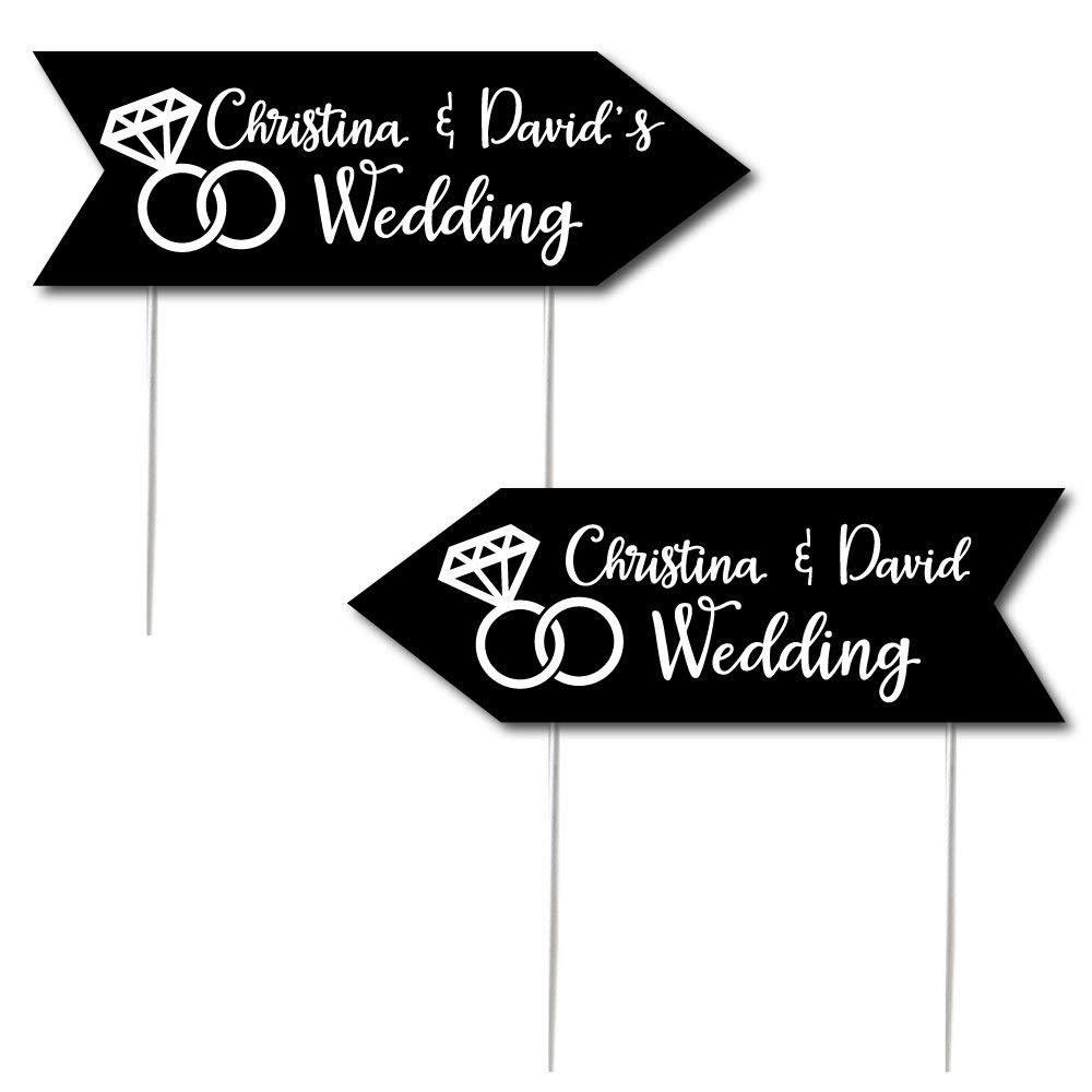 Custom Black Personalized Wedding Signs - Wedding Sign Arrow - Double Sided Directional Yard Signs - Set of 2 Wedding Signs
