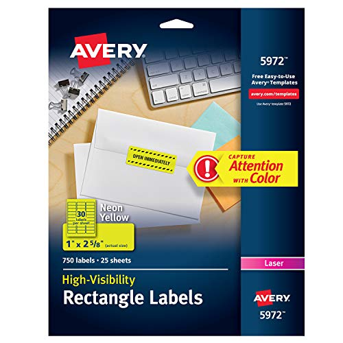 Avery Neon Laser Labels, Rectangle, 1 x 2-5/8, Fluorescent Yellow, 750/Pack ()