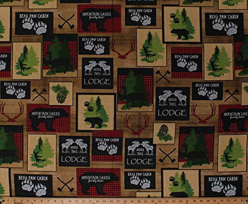 Moose Trail Lodge - Cotton Moose Trail Lodge Bears Deer Bucks Hunting Cabin Northwoods Brown Cotton Fabric Print by The Yard (D571.64)