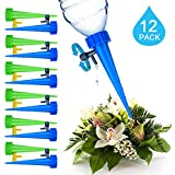 12 Pack Automatic Drip Watering Device,ADSRO Plant Automatic Watering Nail with Switch Control Valve Suitable for Indoor and Outdoor Home Office Plants