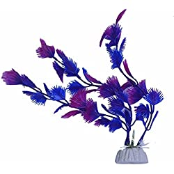 Artificial Plant - TOOGOO(R)Artificial Plant Blue Purple Plastic Aquarium Decoration