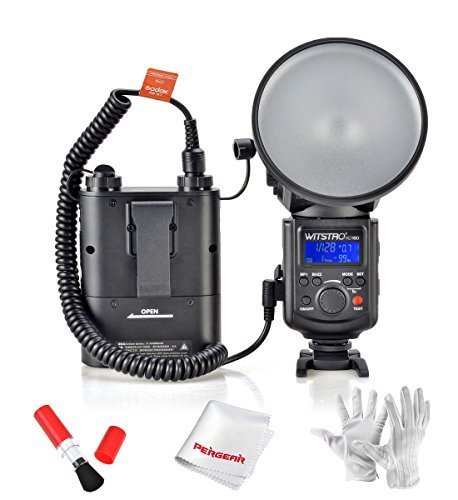 GODOX Witstro AD-180 180W External Portable Flash Light Speedlite with PB960 4500mAh Lithium Battery Pack and Pergear Clean Kit by Godox