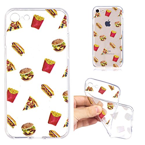 Per iPhone 8 Custodia ,Per iPhone 7 Custodia ,ZXLZKQ Cristallo Hamburger Trasparente Morbido TPU Silicone Coperchio Skin Shell Caso Cover Bumper Protezione Case per iPhone 8 / iPhone 7